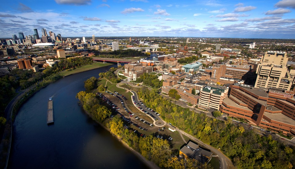Aerial view of University of Minnesota campus and Mississippi river.